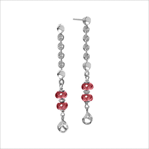 Diamante Garnet Dangle Earrings in Sterling Silver