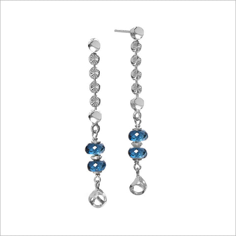 Diamante London Blue Topaz Dangle Earrings in Sterling Silver