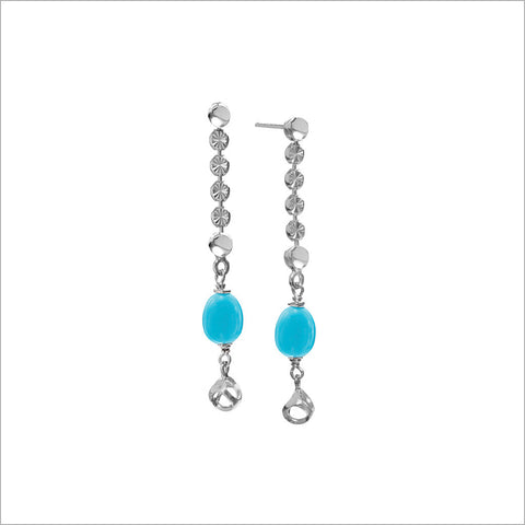 Diamante Turquoise Dangle Earrings in Sterling Silver