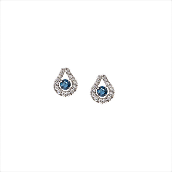 Fiamma 18K White Gold & London Blue Topaz Earrings