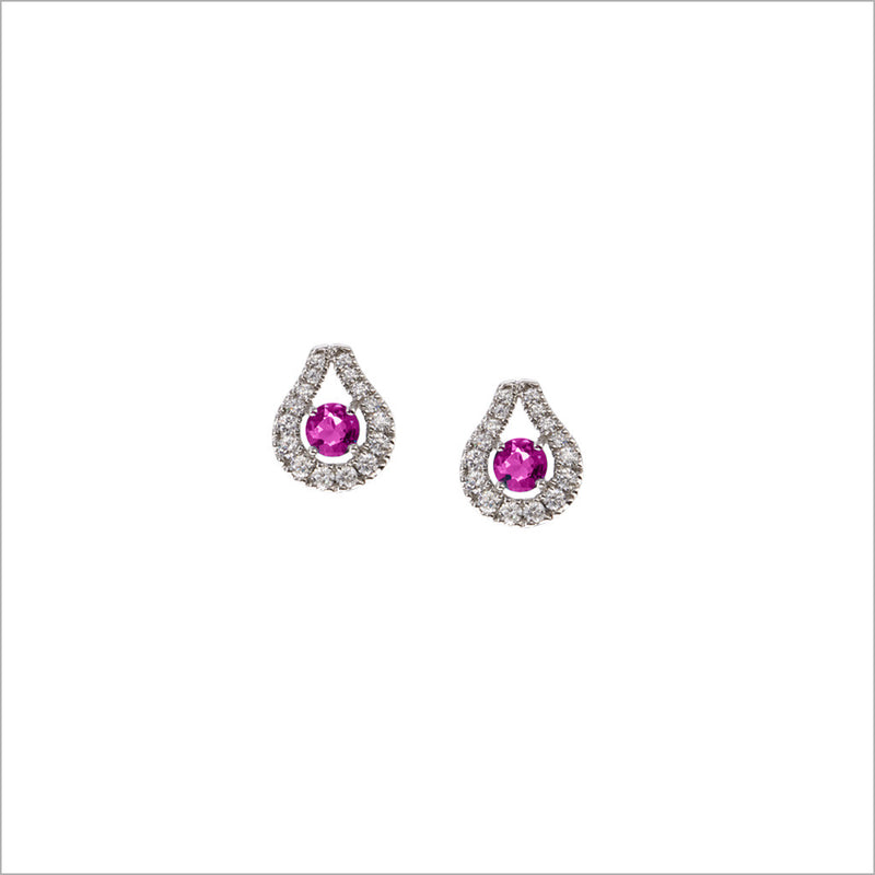 Fiamma 18K White Gold & Pink Sapphire Stud Earrings