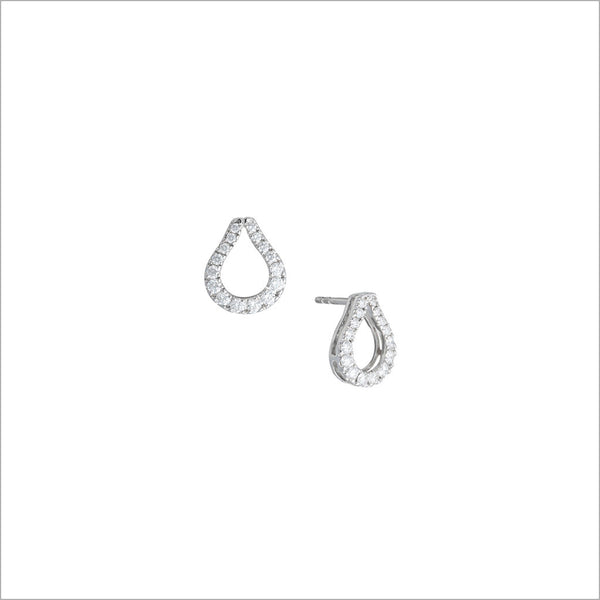 Fiamma 18K White Gold & Diamond Stud Earrings
