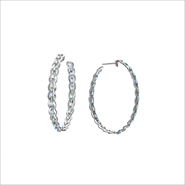Fiamma 18K White Gold & London Blue Topaz Hoop Earrings