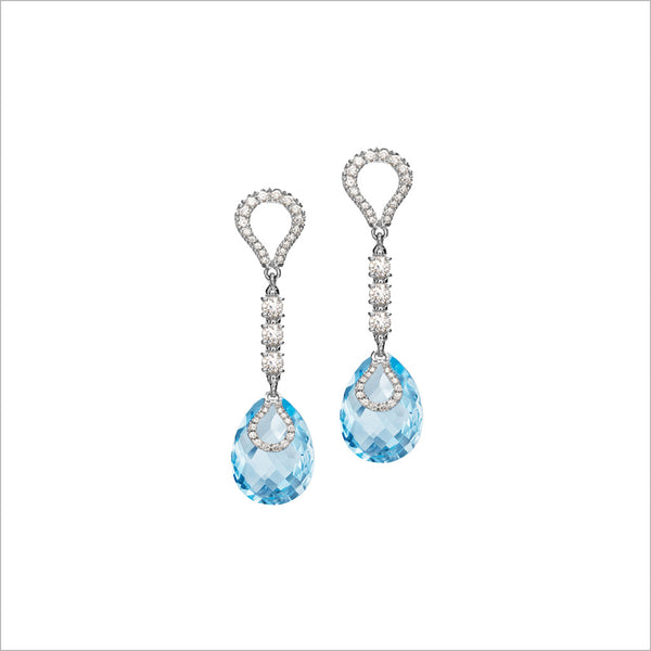Fiamma 18K Gold Drop Earrings with Blue Topaz & Diamonds