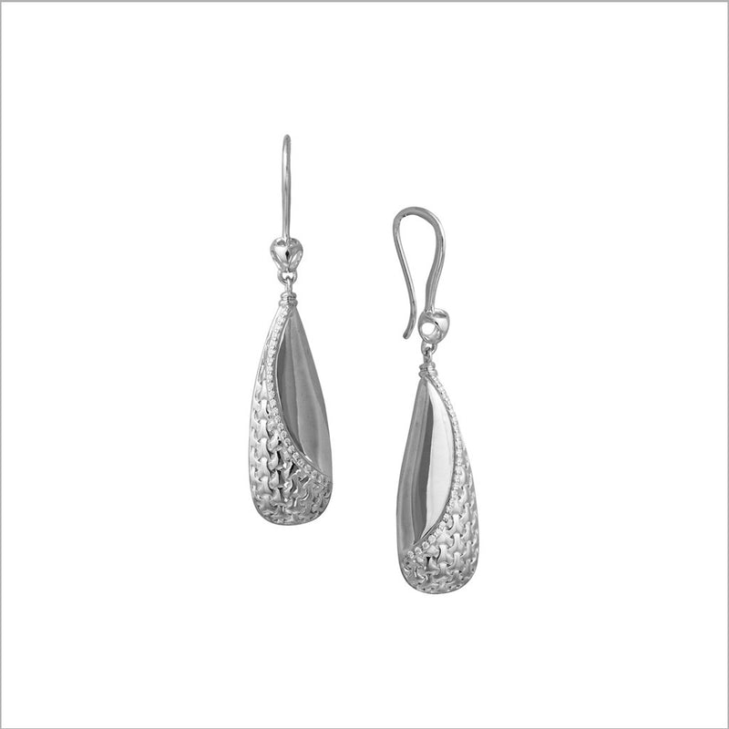 Ricamo Sterling Silver Earrings with Diamonds
