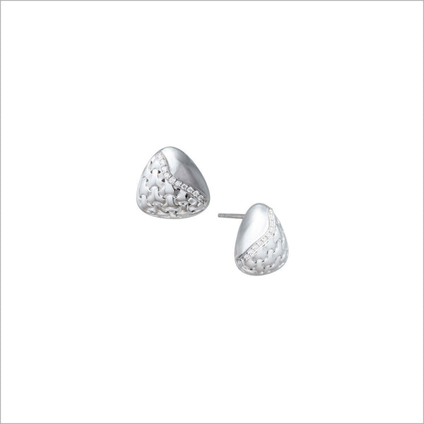 Ricamo Sterling Silver Stud Earrings with Diamonds