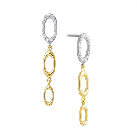Allegra 18K White & Yellow Gold Earrings with Diamonds