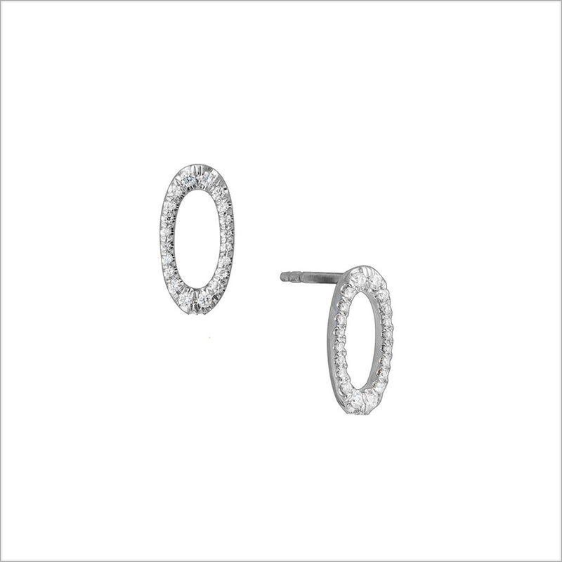 Allegra 18K White Gold Stud Earrings with Diamonds