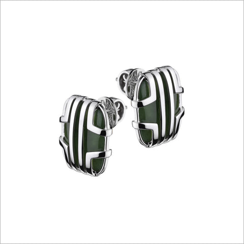 Favola 18K White Gold Earrings with Green Jade