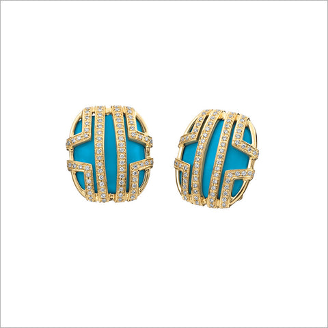 Favola 18K Yellow Gold Earrings with Turquoise and Diamonds