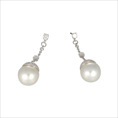 Couture 18K White Gold & Pearl Earrings with Diamonds