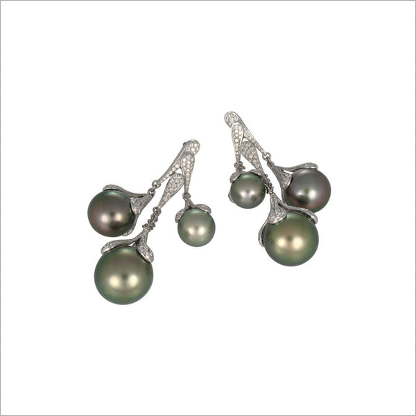 Couture 18K White Gold & Tahitian Pearl Earrings with Diamonds