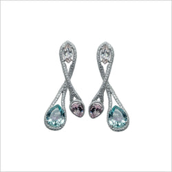 Couture 18K White Gold Earrings with Green Beryl, Morganite & Diamonds