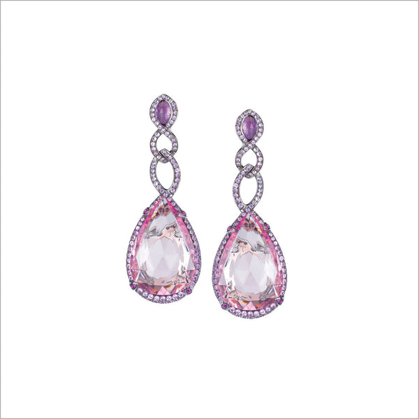 Couture 18K White Gold & Amethyst Earrings with Morganite Stones