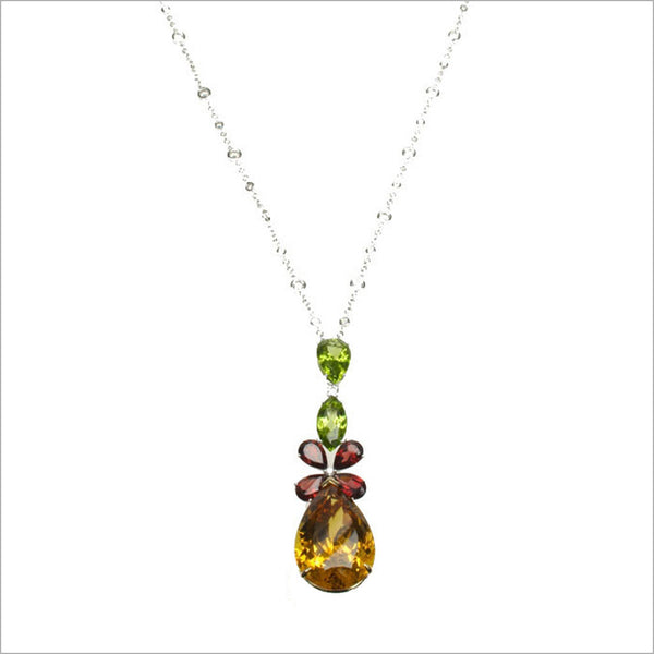 Couture 18K Yellow and White Gold Necklace with Yellow Beryl, Garnet and Peridot Stones & Diamonds