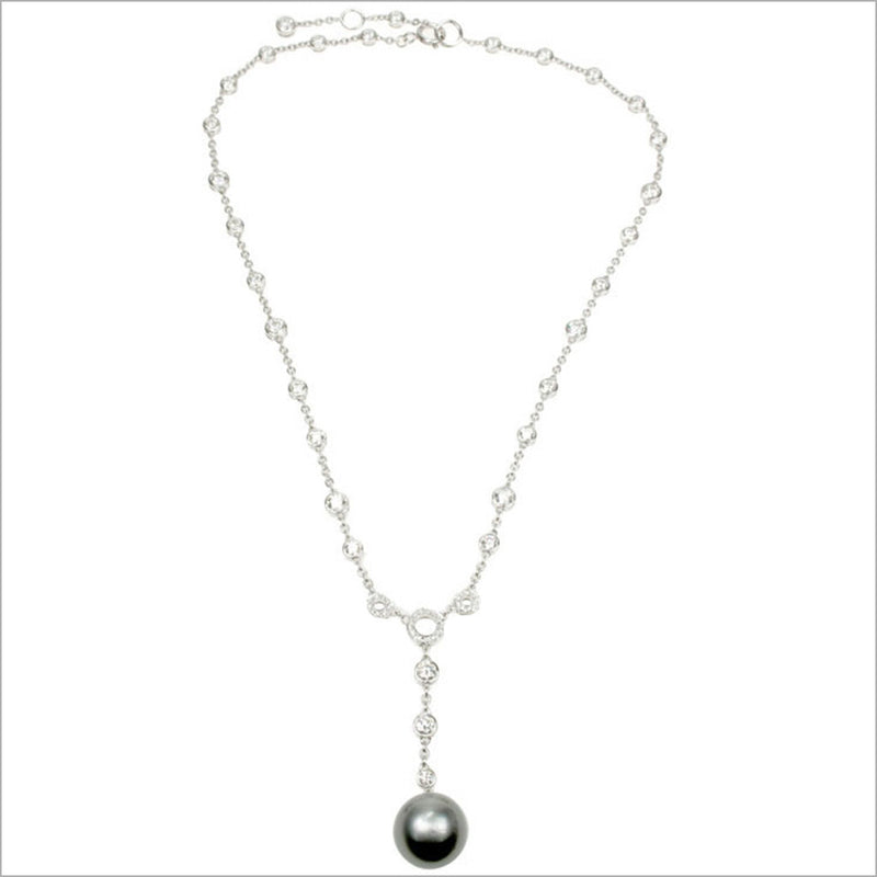 Couture 18K White Gold & Pearl Necklace with Diamonds