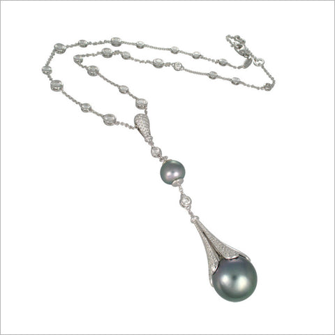 Couture 18K White Gold & Tahitian Pearl Necklace with Diamonds