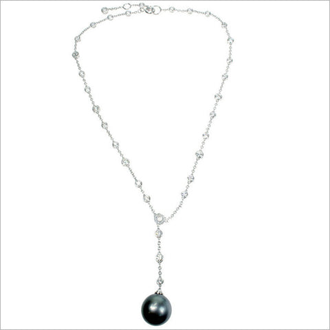 Couture 18K Gold & Tahitian Pearl Necklace with Diamonds