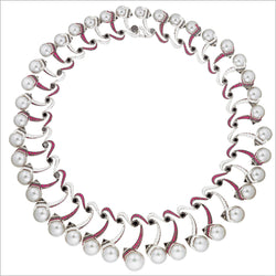 Couture 18K White Gold Necklace with Pearl, Ruby & Diamonds