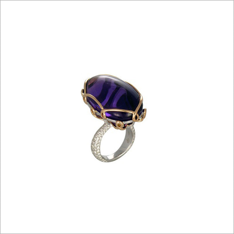 Couture 18K Rose and White Gold & Amethyst Ring with Diamonds