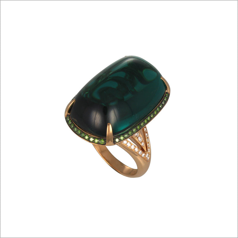 Couture 18K Gold & Tourmaline Ring with Diamonds