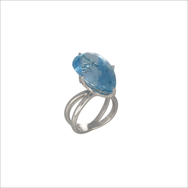 Couture 18K White Gold & Aquamarine Ring with Diamonds