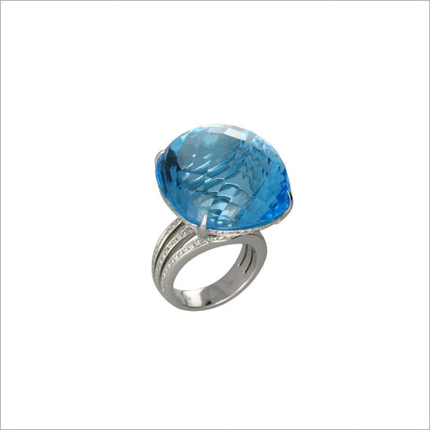 Couture 18K White Gold & Sky Blue Topaz Ring with Diamonds