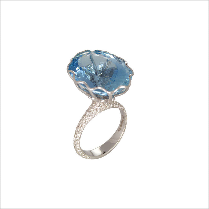 Couture 18K Gold & Aquamarine Ring with Diamonds