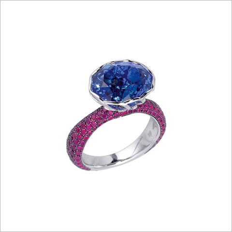 Couture 18K Gold & Tanzanite Ring with Rubellite