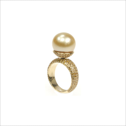 Couture 18K Gold & Golden Pearl Ring with Canary Diamonds