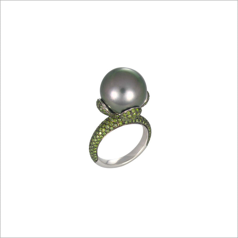 Couture 18K White Gold & Tahetian Pearl Ring with Green Diamonds