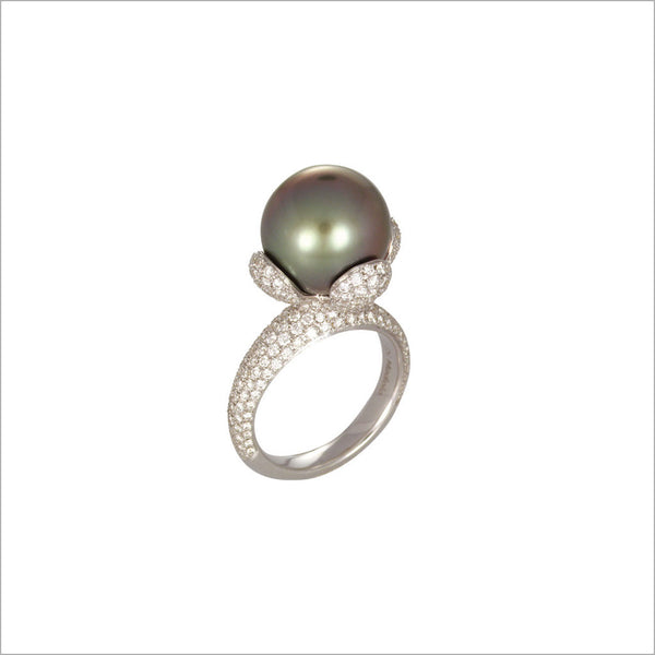 Couture 18K White Gold & Tahitian Pearl Ring with Diamonds