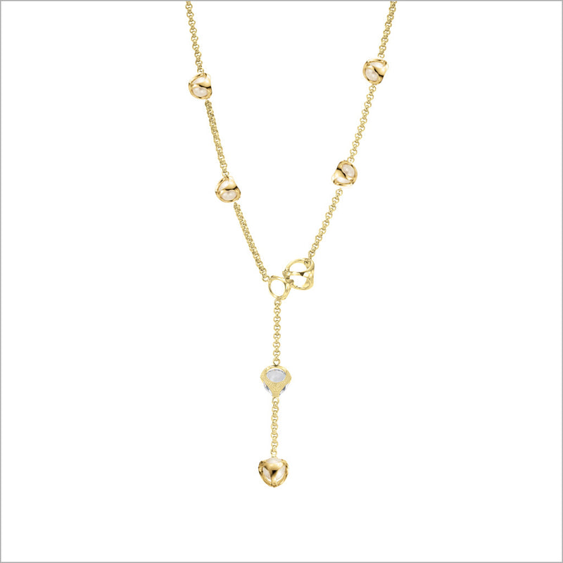 Icona Pearl & Rock Crystal Lariat in Sterling Silver plated with 18k Yellow Gold