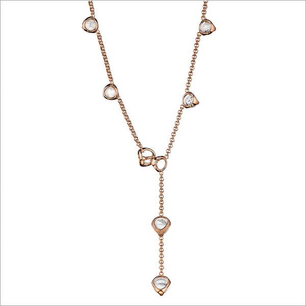 Icona Rock Crystal Lariat in Sterling Silver plated with 18k Rose Gold