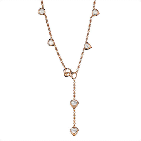 Icona Rock Crystal Necklace in Sterling Silver Plated with Rose Gold