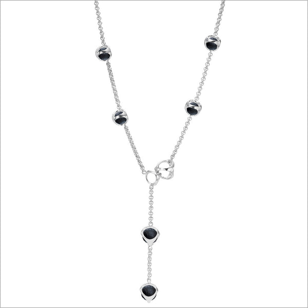 Icona Black Onyx Lariat in Sterling Silver