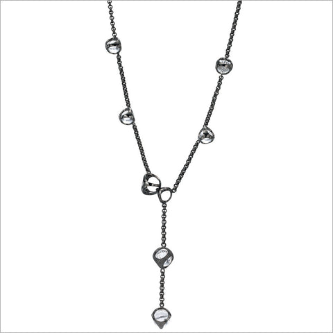 Icona Black Rhodium & Rock Crystal Lariat in Sterling Silver