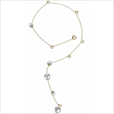 Triadra 18K Yellow Gold & Pearl Lariat Necklace with Diamonds