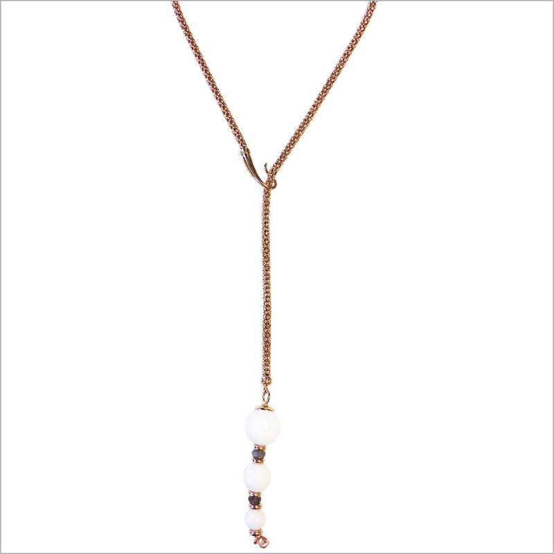 Sahara White Agate Lariat Necklace in Sterling Silver plated with 18K Rose Gold