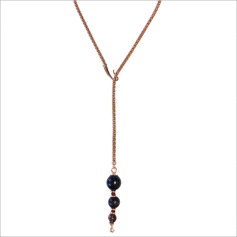 Sahara Wood Lariat Necklace in Sterling Silver plated with 18K Rose Gold