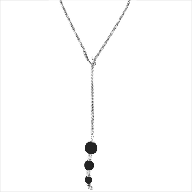 Sahara Black Onyx Lariat Necklace in Sterling Silver