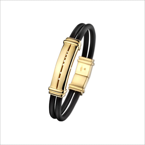 Men's Falco 18K Gold & Rubber Pendant