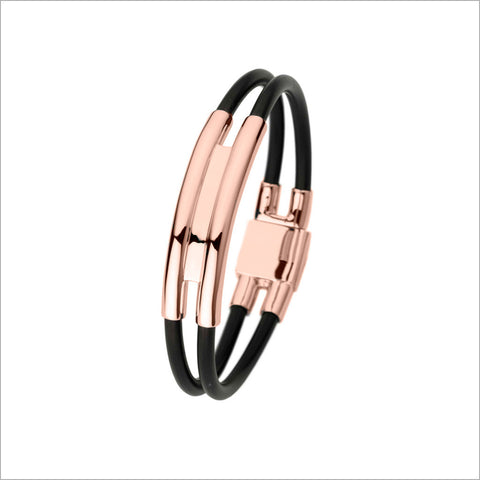Men's Falco 18K Rose Gold & Rubber Bracelet