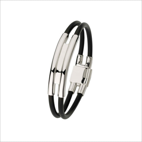 Men's Falco 18K White Gold & Rubber Bracelet