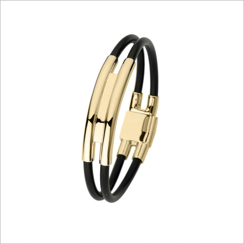 Men's Falco 18K Yellow Gold & Rubber Bracelet