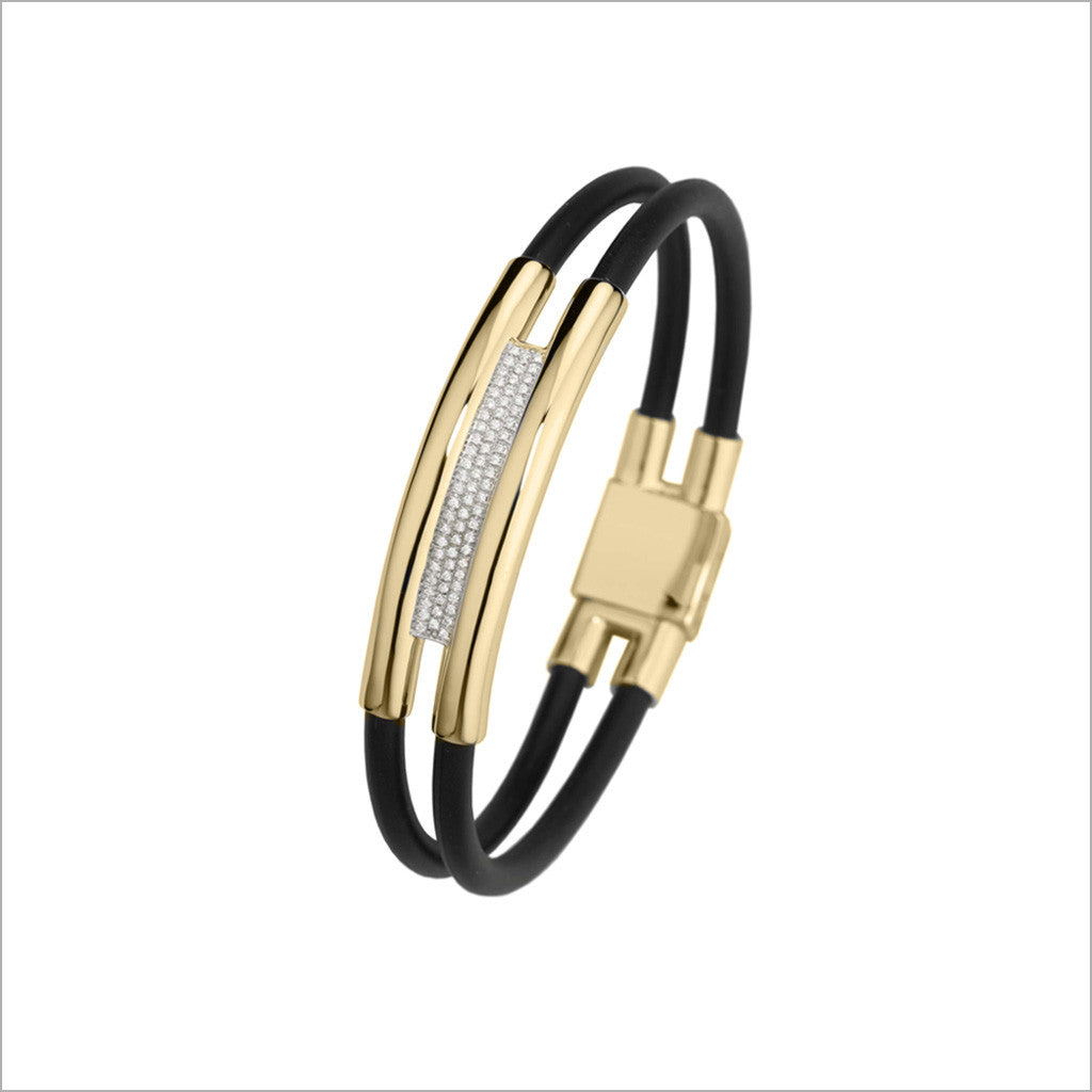 Men's Falco 18K Gold & Rubber Bracelet with Diamonds