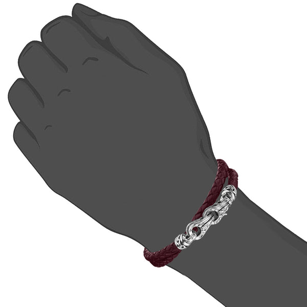 Men's Centauro Red Leather & Sterling Silver Bracelet
