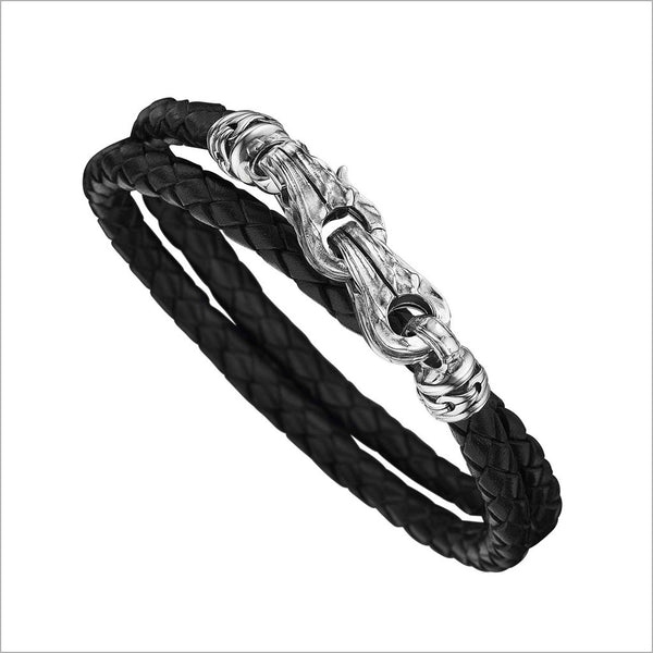 Men's Centauro Black Leather & Sterling Silver Bracelet