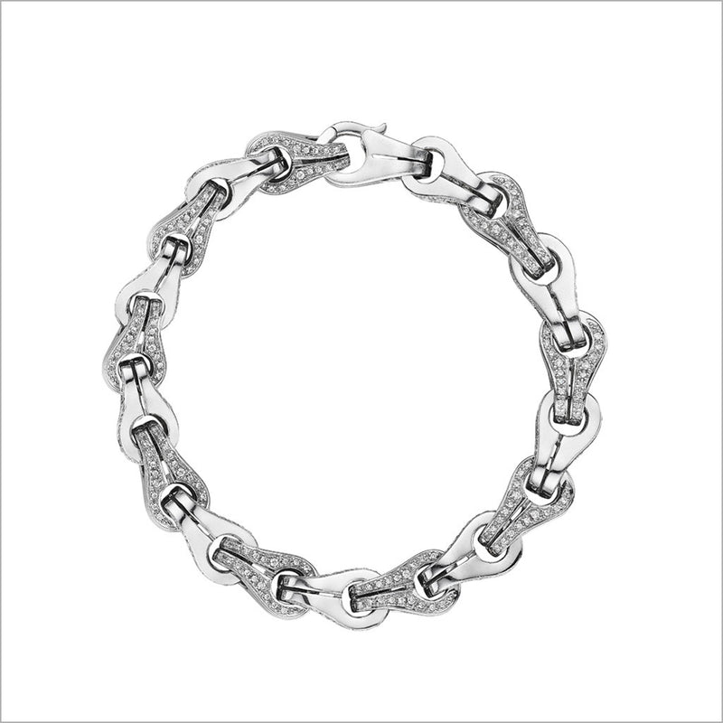 Men's Centauro Sterling Silver Chain Bracelet with Pave White Diamonds