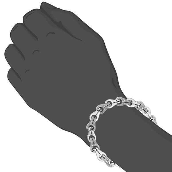 Men's Centauro Sterling Silver & Diamond Chain Bracelet